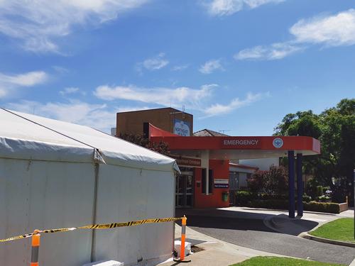 pre-Emergency Department access screening tent
