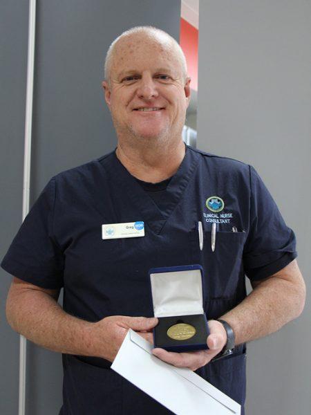 Greg Benton accepting the WB Richardson award