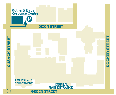 Map with directions to NHW Lactation Clinic
