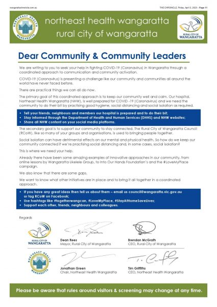 the letter to the community signed by NHW and RCoW