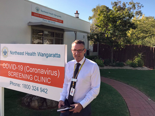 Tim Griffiths, CEO outside NHW COVID-19 (Coronavirus) screening clinic in Wangaratta