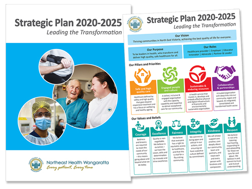 Front cover of Northeast Health Wangaratta Strategic Plan 2020 - 2025 publication