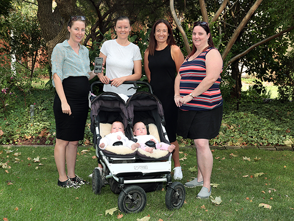Expectant mother Kathryn McQualter, Felicity Kennedy, mum of seven month old twins Grace and Evie (front), health promotion coordinator at Gateway Health Jess Colman and Northeast Health Wangaratta health promotion officer Laura Tonkin are encouraging local parents to download a free app aimed at assisting the pregnancy and breastfeeding journey.